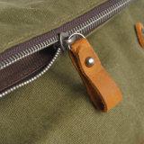 Drei Farben-Segeltuch-und Leder-Form-Schule-Rucksack-Beutel (RS-104-1)