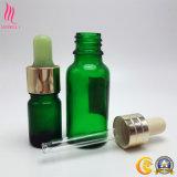 Ambarino/verde/botella de cristal cosmética azul del cuentagotas con el casquillo del cuentagotas para el petróleo esencial