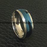 De Manier van de Juwelen van Shineme tussen de Blauwe en Zilveren Ring van het Titanium (TR1918)