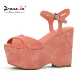 (Donna-in) Form-Kind-Veloursleder-Frauen-hohe Plattform-Sandelholze