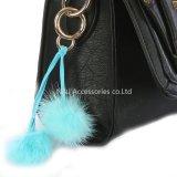 De in het groot Faux Gift van de Juwelen van Keychain van de Ballen van de Zak POM van het Bont POM Bijkomende Blauwe Dubbele