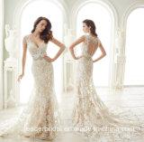 A V-Garganta de creme dos vestidos nupciais do laço Sleeves os vestidos de casamento Bz9017