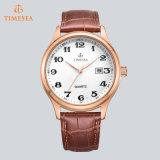 O quartzo de aço presta atenção ao homem luxuoso Watches72622 análogo da cinta de couro dos homens