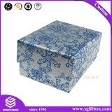 Blauer silberner klassischer Blumenentwurfs-Ohrring-Anhänger-Schmucksache-Kasten