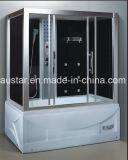 sauna de vapeur de rectangle de 1600mm avec le jacuzzi et la douche pour la personne 2 (AT-G0211)