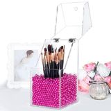 Caixa acrílica do organizador da composição do suporte de escova com grânulos da pérola