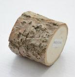 Caixa de madeira do anel da árvore áspera natural feita sob encomenda do logotipo