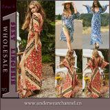 Платье пляжа оптовой печати лета молодости дешевой безрукавный флористическое сладостное (TMD671)