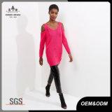 安い方法は女性のための苦しめられた赤いセーターを敬遠する