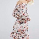 Mousseline de soie de femmes de mode estampée outre de la robe de vêtements de bandage de glands d'épaule