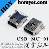 5p Mini-Typ Mini-USB-weiblicher Verbinder USB-Jack SMD mit Montage-Stöpseln