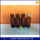 botellas de cristal del jarabe ambarino 20ml con el casquillo de aluminio evidente del pisón
