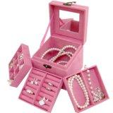 Миниая портативная коробка хранения PU ювелирных изделий кольца ожерелья серег застежка-молнии с зеркалом