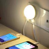 Bianco caldo di alta luminosità noi indicatore luminoso BRITANNICO di notte della spina LED dell'Ue con il caricatore doppio del USB del sensore chiaro per la casa della camera da letto