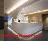 Encimera superficial sólida de acrílico moderna blanca de la recepción del hotel (TW-MART-113)