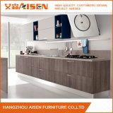 Gabinete de cozinha de madeira do folheado do projeto moderno