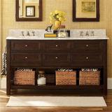 Gabinete de madeira de Batrhoom do dissipador dobro da alta qualidade