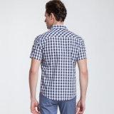 Plaid-Baumwollstandplatz-Stutzen-Kurzschluss-Hülsen-Smokinghemd 100% der Männer