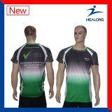 Abiti sportivi sublimati delle uniformi della Jersey di calcio del commercio all'ingrosso di stampa di colore verde