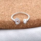Het Openen van 925 van vrouwen het Echte Zilveren hart-Gevormde Kristal van het Inlegsel van de Ring