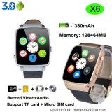 Reloj elegante curvado de la pantalla con la ranura para tarjeta de SIM (X6)