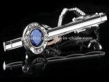 El lujo de la alta calidad Diamante-Tachonó el encadenamiento cristalino del lazo del Mens de la joyería de los clips de lazo