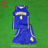 青および黄色の完全な昇華デザインバスケットボールのユニフォーム