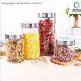 Vaso di vetro di memoria dell'alimento del cilindro con il coperchio del metallo