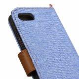 Caisse debout de téléphone de couleur bleu-clair de configuration de denim pour l'iPhone 7