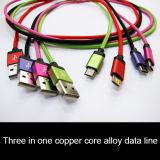 충전기 케이블 이동 전화를 가진 마이크로 USB 데이터 케이블
