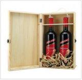 Rectángulo de madera del vino del pino de moda de 2 botellas