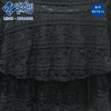 Schwarzer Form V-Stutzen langes Hülsen-Spitze-Ineinander greifen-Form-Dame-Abend-Kleid