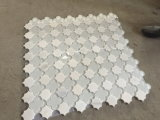 Mosaico de cristal mezclado del jet de agua del mármol blanco de Thassos para el azulejo de la pared