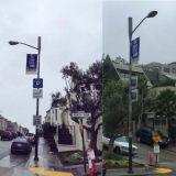 Im Freienbekanntmachenbild-Media-Straßenlaterne-Pole-Fahnen-Halter
