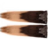 Klipp Menschenhaar-Extensions-Klippins-7PCS/Set heiße besten dem Haar in des dunklen Brown-indische Remy reale Förderung-Haar-2016