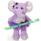 Animale farcito con l'elefante viola del giocattolo della peluche del vestito da ballo