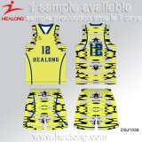 Le plus défunt basket-ball Jersey de Camo de bleu de modèle de coutume bon marché et de couleur de Gary
