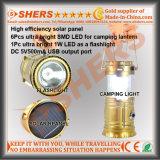 再充電可能な太陽動力を与えられた6 LEDのキャンプのランタン1W LEDの懐中電燈USBのアウトレット
