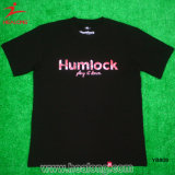青年スポーツの摩耗の黒カラー絹プリント人のTシャツ
