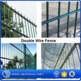 2.153mx1.886mの機密保護のためのPVCによって塗られる溶接された鉄条網のポストの間隔を使用して