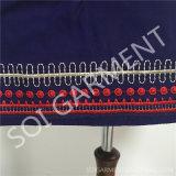 Dame-Form-Rayon-Stickerei-langes Hemd mit Troddel (DR-113)
