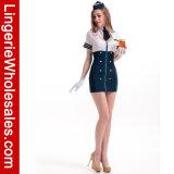 Голубым и белым Costume миниого платья Stewardess обслуживания фронта застежки -молнии отрезанный Neckline вне