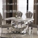 A sala de jantar superior de mármore moderna do aço inoxidável ajusta a tabela de jantar de Funriture da sala de visitas (SJ806)