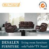 Sofá del Recliner del color de vino rojo, sofá del cuero genuino de la sala de estar (Y995)