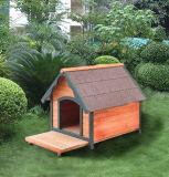 Perrera de madera del perro de la casa del animal doméstico del patio trasero al aire libre con la plataforma