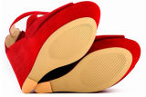 Sandalias multicoloras de las señoras del alto talón de la cuña de la nueva manera (HS17-81)