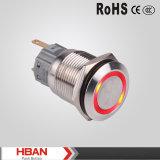 19m m IP67 impermeabilizan el anillo LED iluminado trabando el interruptor de pulsador