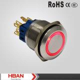 niveau imperméable à l'eau de la protection IP65 de 30mm sur outre du commutateur, commutateur de bouton poussoir avec l'éclairage LED
