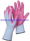 13 Anzeigeinstrument-Nylonzwischenlage, Nitril-Beschichtung, auffällige Puder-Sicherheits-Handschuhe