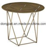 Table basse de finition de thé d'acier inoxydable de surface d'or de Rose avec le dessus de marbre